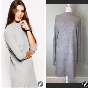 ASOS Gray high neck ribbed Sweater dress #3345